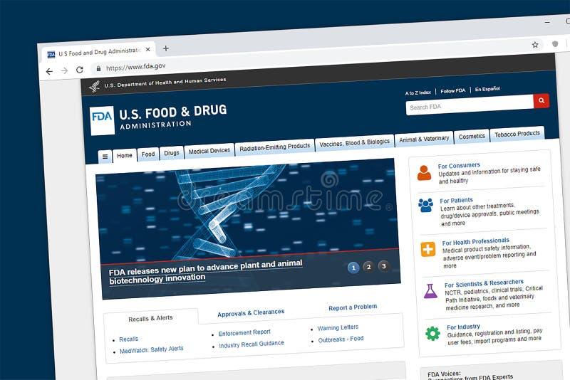 U S FDA strony internetowej Homepage zdjęcie stock