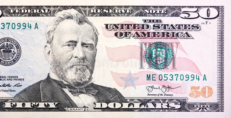 A U.S. fifty 50 Dollar Bill close up of Grant. High resolution photo royalty free stock image
