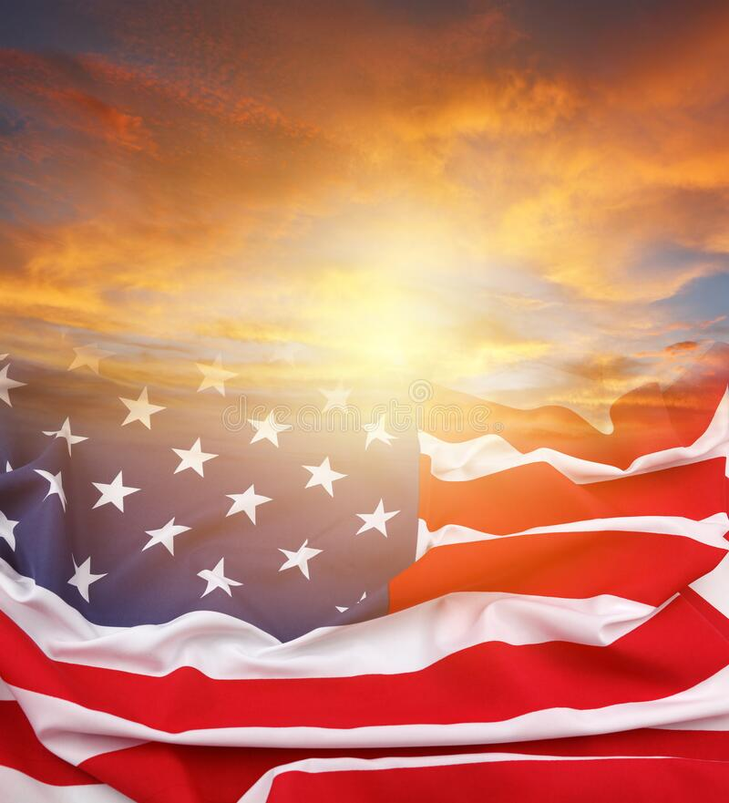 U.S.flag and sky stock photography