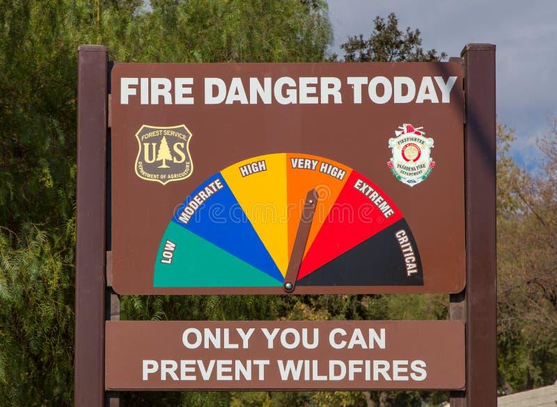 U S Forest Service Fire Danger Sign lizenzfreie stockbilder