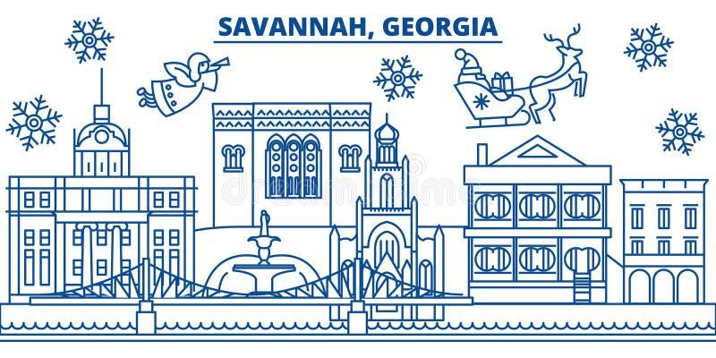 U.S.A., Georgia, orizzonte della città di inverno della savana Il Buon Natale ed il buon anno hanno decorato l'insegna Cartolina  illustrazione di stock
