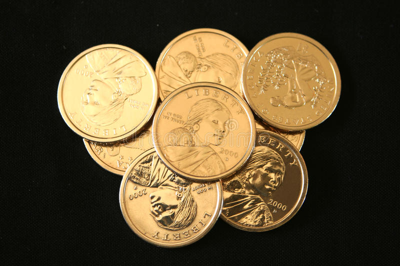 U.S. Gold One Dollar Coins royalty free stock images