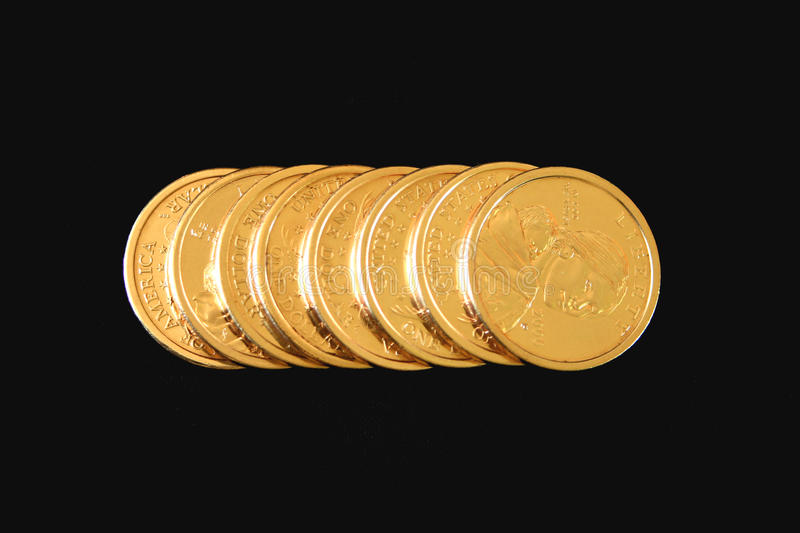 U.S. Gold One Dollar Coins stock image