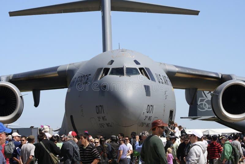 U S Grande aereo dell'aeronautica grigio fotografia stock