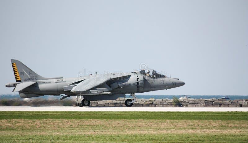 U S Harrier des marines AV-8 au salon de l'aéronautique de Cleveland photo libre de droits