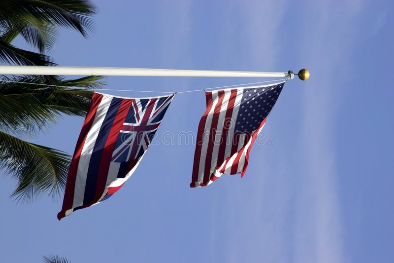 U.S. and Hawaii State Flags stock photo