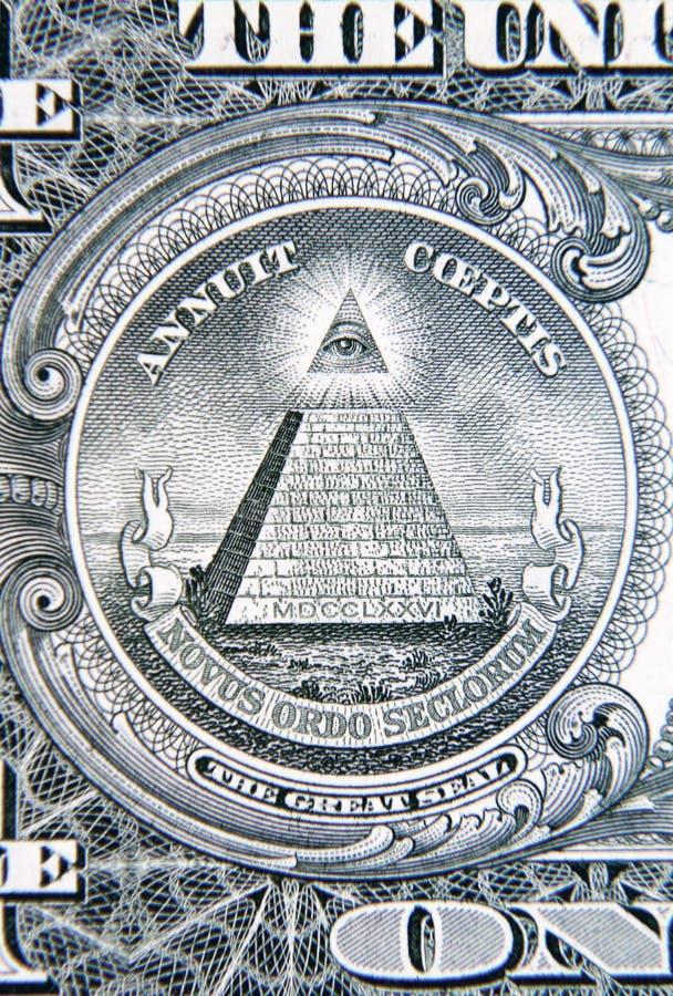 U S Het detail van het één dollarbankbiljet royalty-vrije stock afbeeldingen