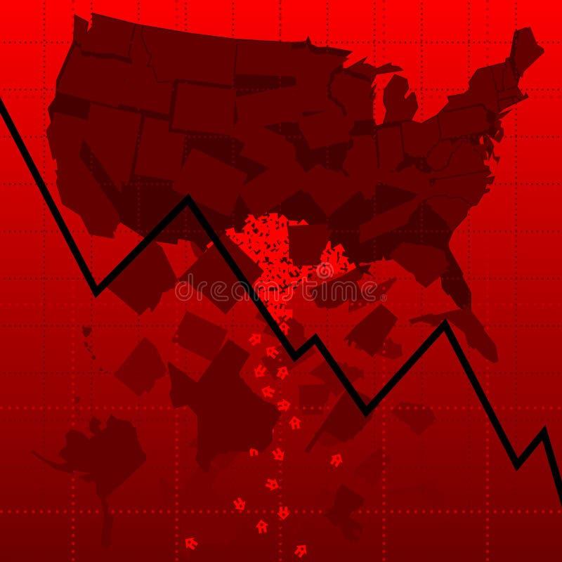 U.S. Housing market crash vector illustration