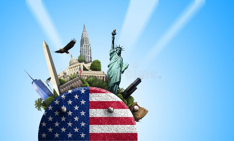 U.S.A., icona con la bandiera americana e viste su un fondo blu fotografie stock libere da diritti