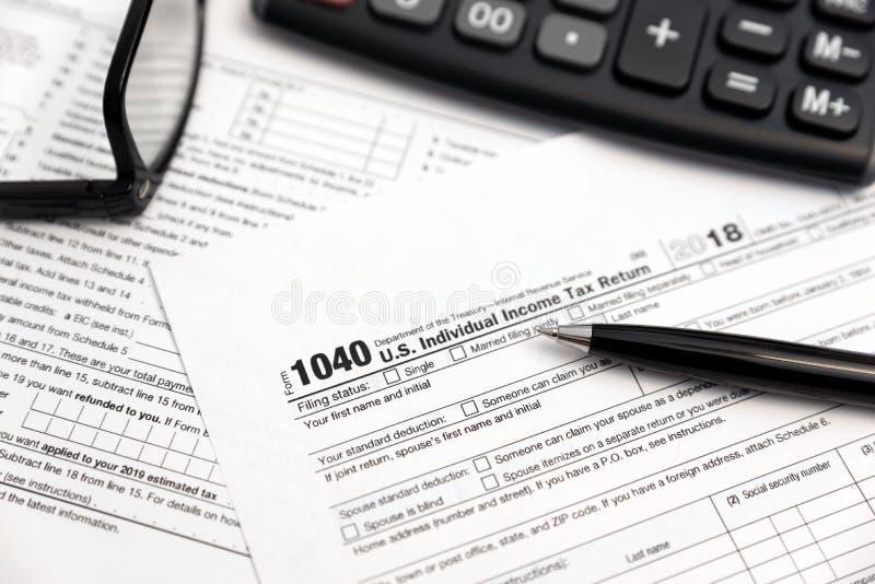 U.S. Individual income tax return stock photo