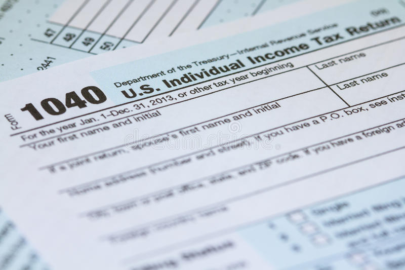 US Individual Income Tax Return  Irs Tax Form Stock Image