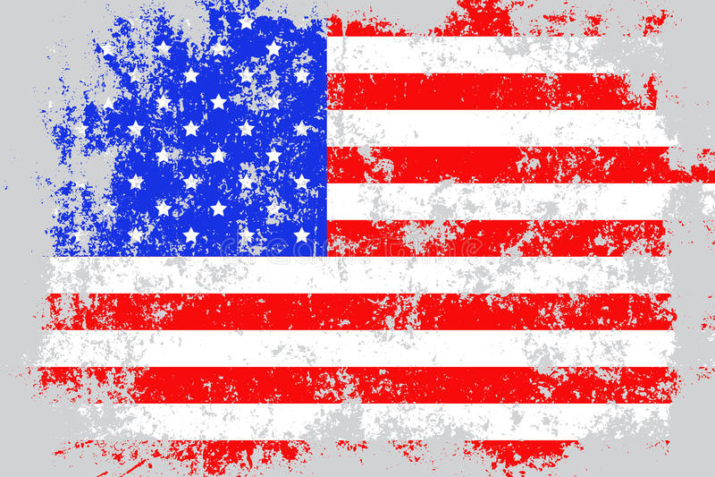 U.S.A., lerciume degli Stati Uniti d'America, vecchia, bandiera graffiata di stile royalty illustrazione gratis