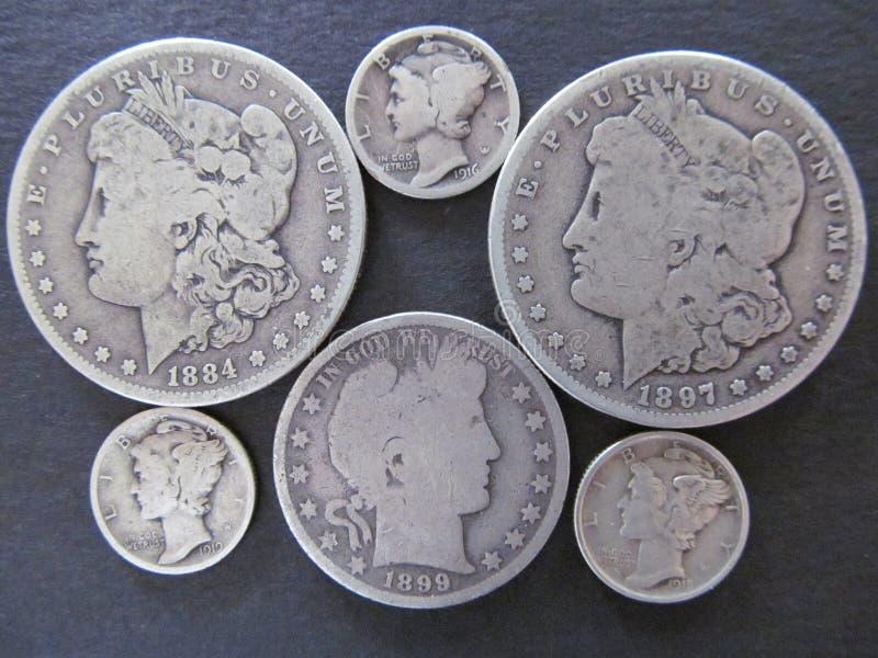 U S Lotto di valuta della moneta d'argento fotografie stock