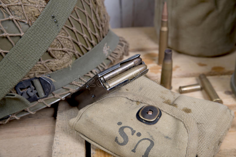 U.S. military equipment of World War II. Different U.S. military equipment of World War II stock image