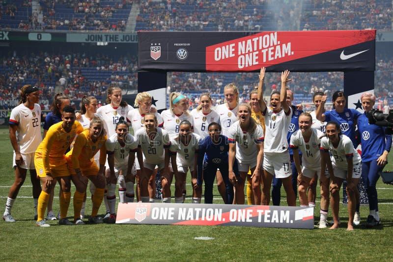 U S O campeonato do mundo Team Send-Off Celebration das mulheres para o campeonato do mundo de 2019 mulheres na arena de Red Bull fotografia de stock