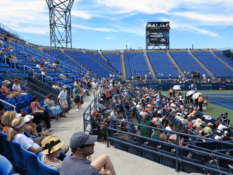 U. S. Open Tennis - Louis Armstrong Stadium. Fans close to the action at Louis Armstrong Stadium, the original US Open venue at the Billie Jean King Tennis royalty free stock photo