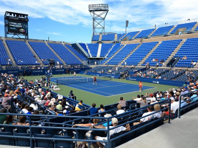 U. S. Open Tennis - Louis Armstrong Stadium. Louis Armstrong Stadium, the original US Open venue at the Billie Jean King Tennis Center, during a 2014 doubles stock photo