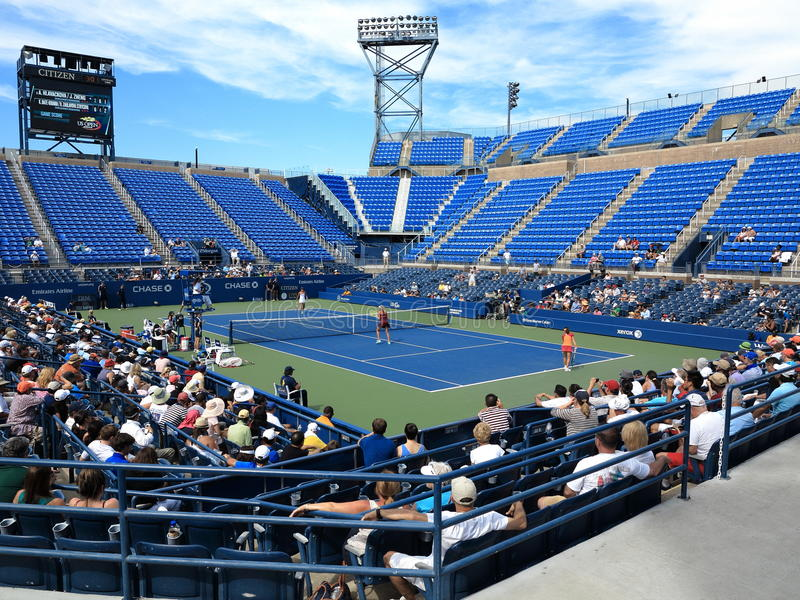 U. S. Open Tennis - Louis Armstrong Stadium. Louis Armstrong Stadium, the original US Open venue at the Billie Jean King Tennis Center during a 2014 doubles royalty free stock photography