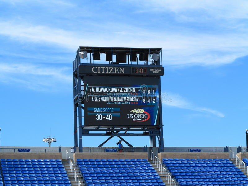 U. S. Open Tennis - Louis Armstrong Stadium. Scoreboard at Louis Armstrong Stadium, the original US Open venue at the Billie Jean King Tennis Center during a royalty free stock photo