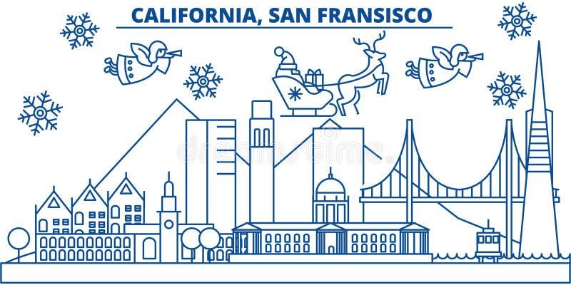 U.S.A., orizzonte della città di inverno di California, San Francisco Il Buon Natale ed il buon anno hanno decorato l'insegna sal illustrazione vettoriale