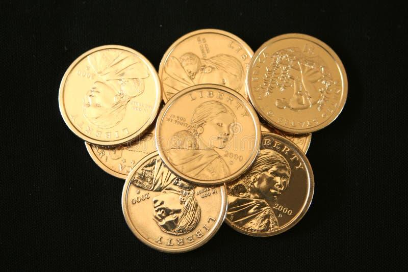 U.S. Oro monedas de un dólar imágenes de archivo libres de regalías