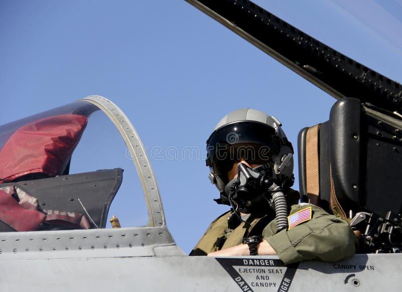 U S Pilota da combattimento in un aereo da caccia fotografia stock libera da diritti