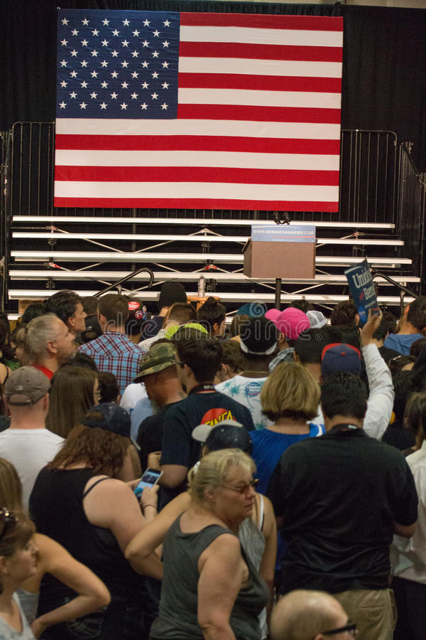 U.S. Presidential Hopeful Democrat Bernie Sanders Rally. Thousands attended a rally at the state fair grounds in Arizona to hear United States presidential stock photos