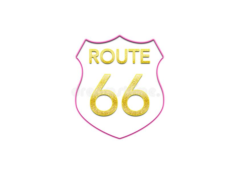 Route 66 sign pink white golden Glitter royalty free stock images