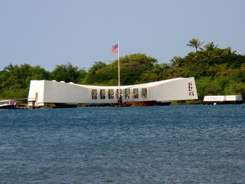 U.S.S. 亚利桑那纪念品在珍珠港,奥阿胡岛, HI 免版税图库摄影