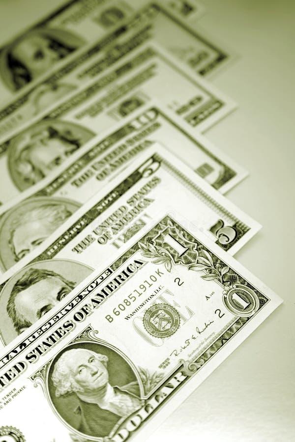 U.S. sedlar; valuta arkivbild