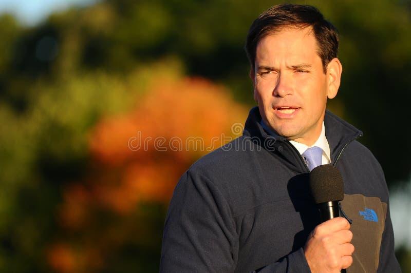 U S Senator Marco Rubio, Republikaner von Florida, spricht in Bedford, New Hampshire am 6. Oktober 2015 stockfoto