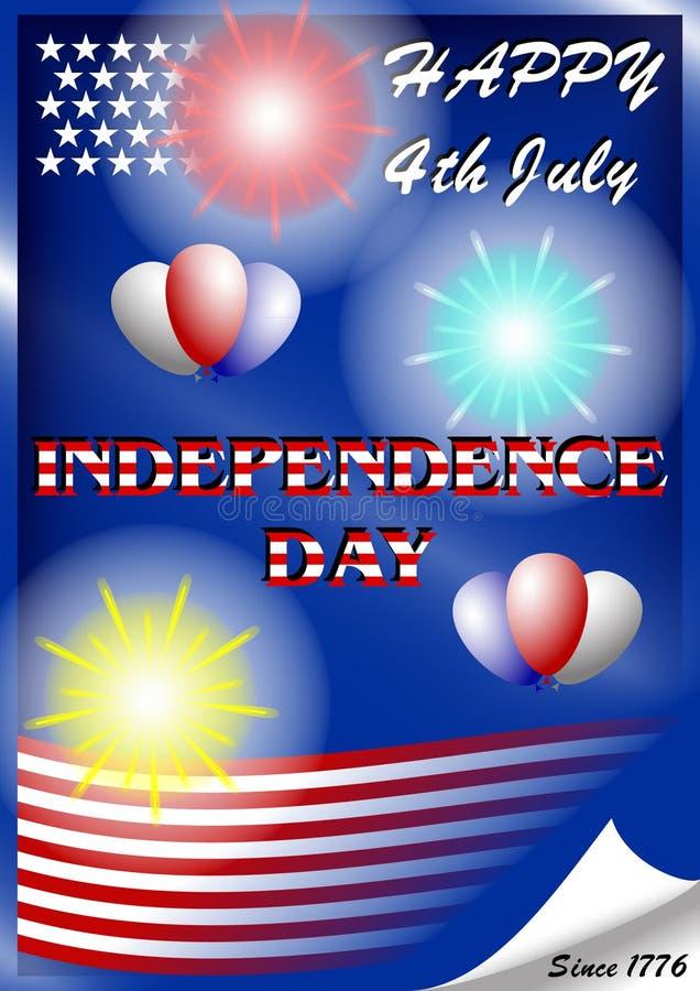 U S självständighetsdagen Juli 4 med fyrverkerier och ballonger stock illustrationer