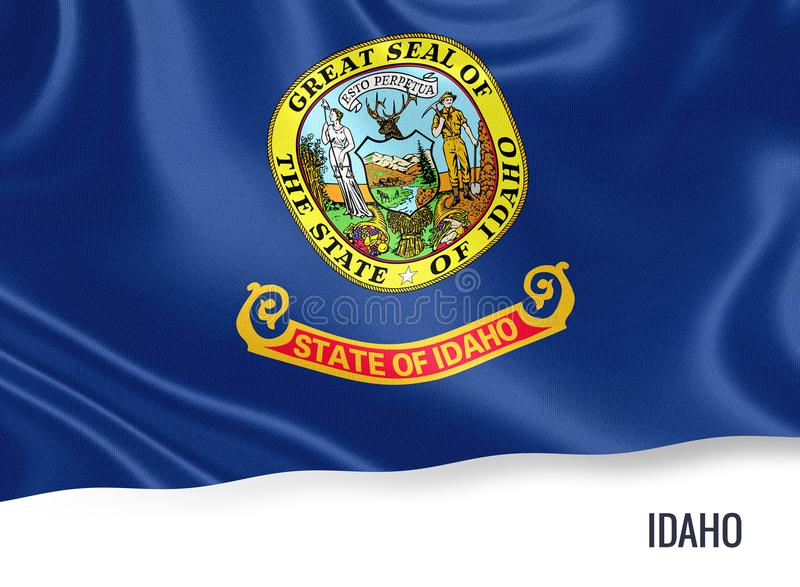 U.S. state Idaho flag. U.S. state Idaho flag waving on an isolated white background. State name included below the artwork vector illustration