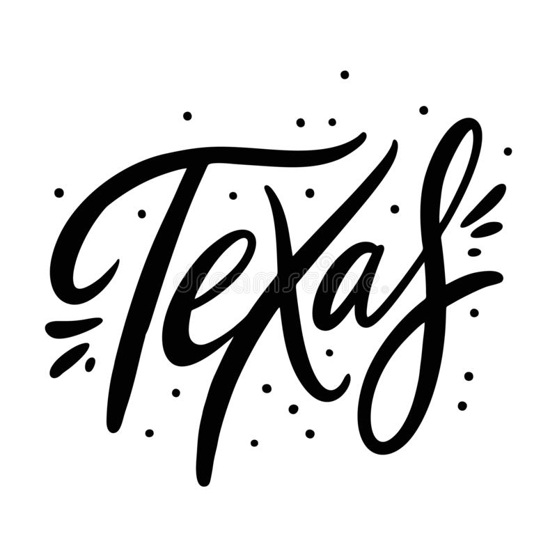U.S. state name Texas. Hand drawn vector lettering. Isolated on white background. Design for poster, greeting card, photo album, banner. Vector illustration royalty free illustration