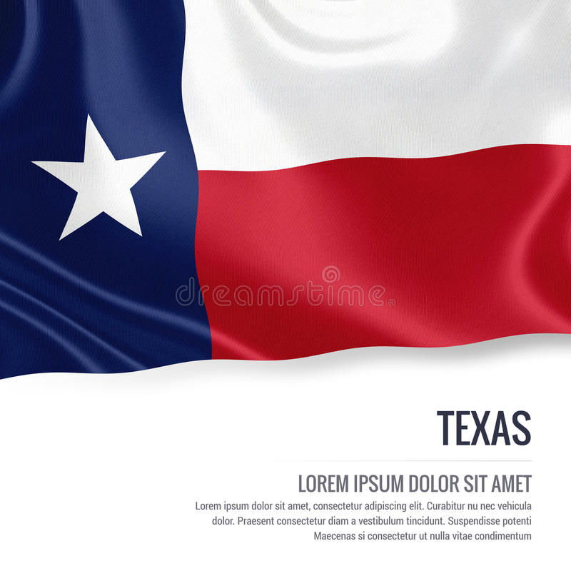 U.S. state Texas flag. U.S. state Texas flag waving on an isolated white background. State name and the text area for your message. 3D illustration vector illustration