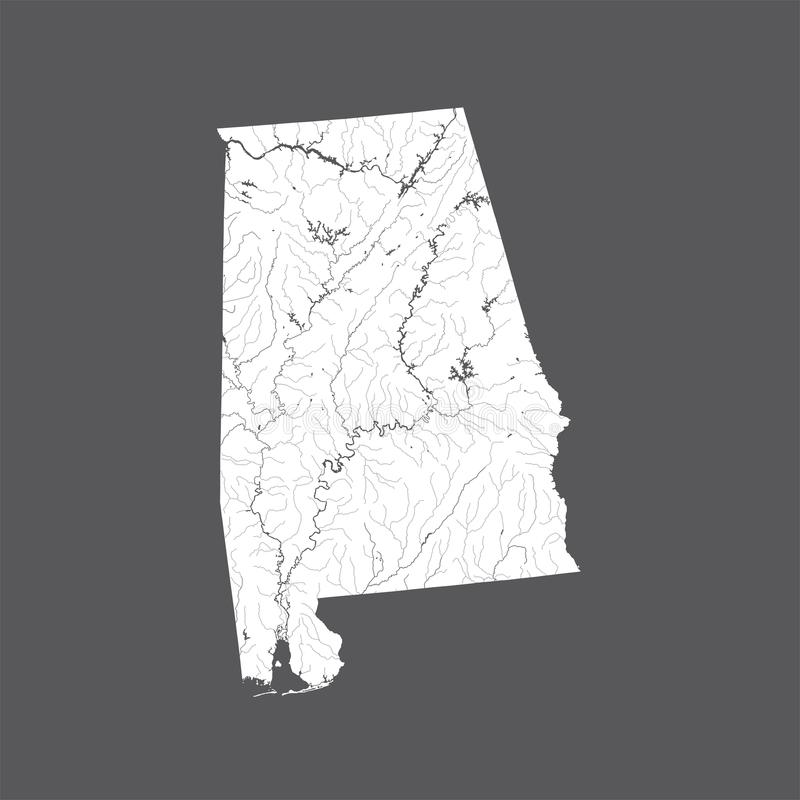 Map of Alabama with lakes and rivers. U.S. states - map of Alabama. Hand made. Rivers and lakes are shown. Please look at my other images of cartographic series royalty free illustration