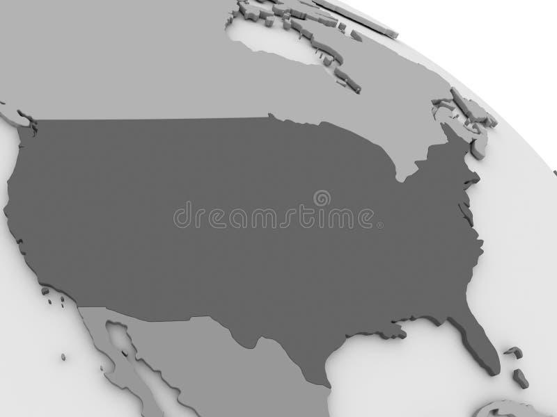 U.S.A. sulla mappa grigia 3D illustrazione di stock