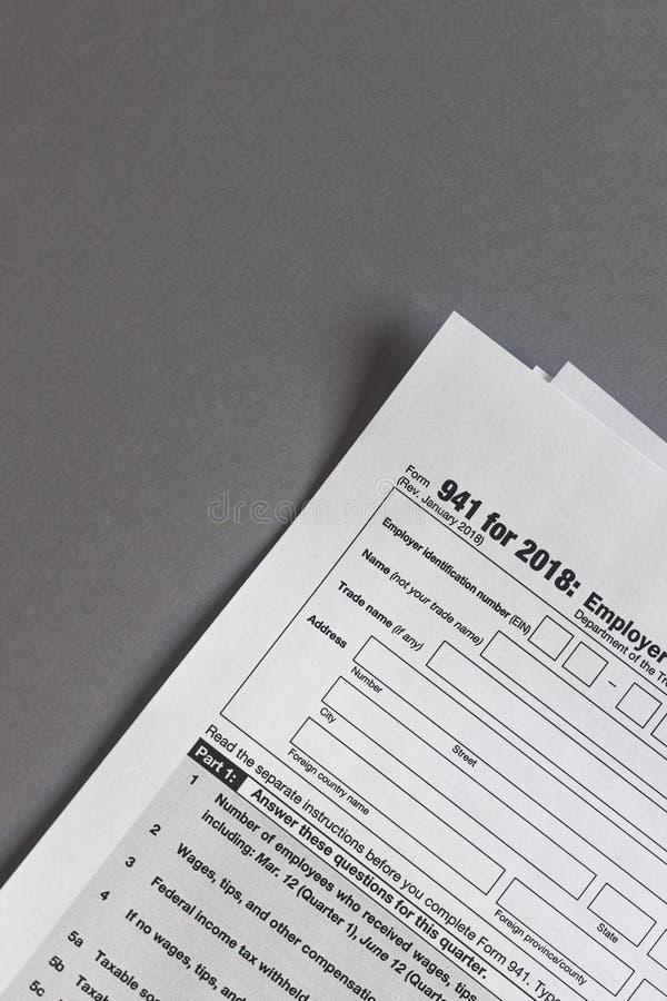 U.S. tax Form 941. Employer`s QUARTERLY Federal Tax Return. U.S. tax Form 941 for 2018. Employer`s QUARTERLY Federal Tax Return royalty free stock photo