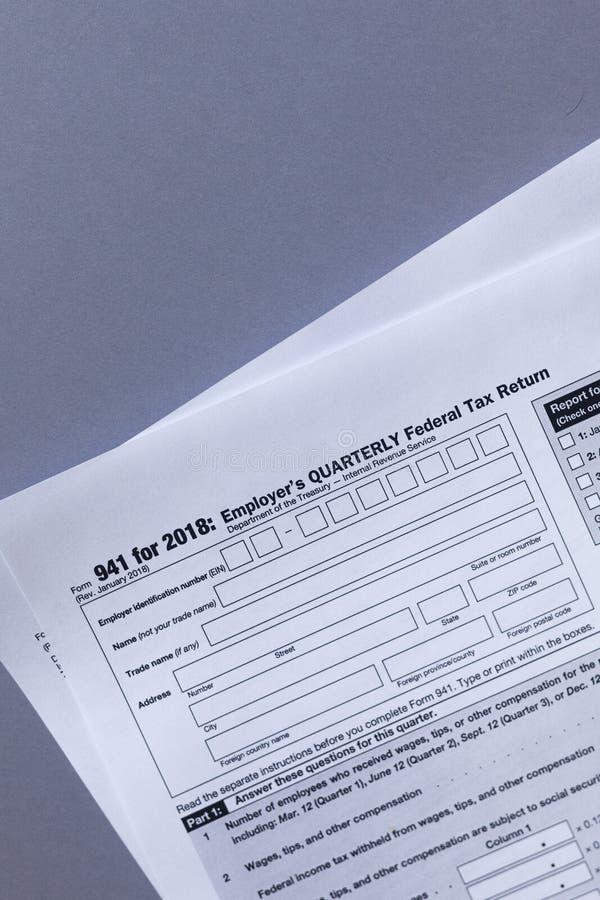 U.S. tax Form 941. Employer`s QUARTERLY Federal Tax Return. U.S. tax Form 941 for 2018. Employer`s QUARTERLY Federal Tax Return stock photo