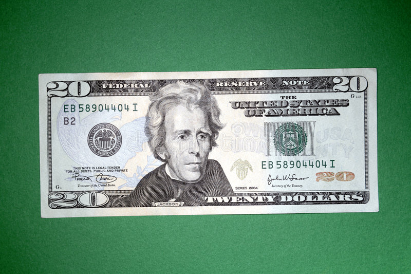 U.S. twenty dollar bill stock image