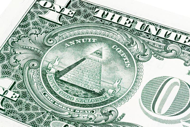 U S uma 1 nota de dólar em uma foto do close-up imagens de stock