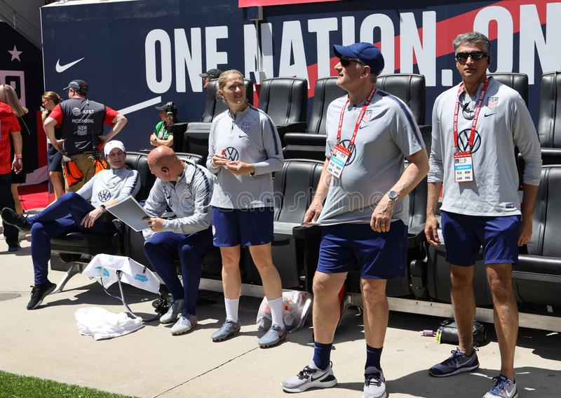 U.S. Women`s National Soccer Team head coach Jill Ellis middle with coaching team during  friendly game against Mexico royalty free stock image
