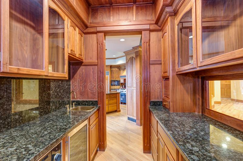 U-shaped wet bar with paneled walls. And cabinets with granite countertop royalty free stock photography