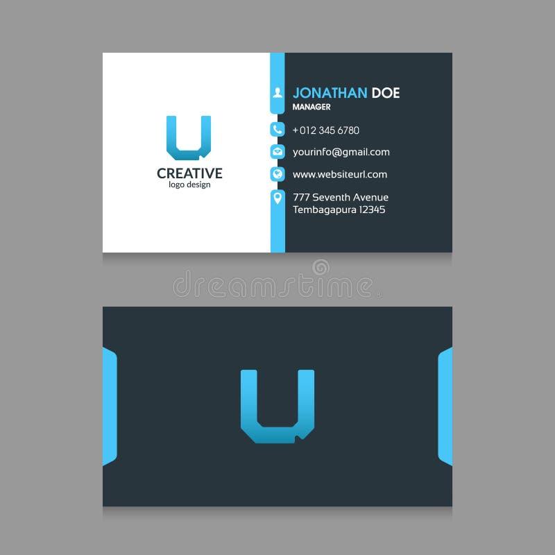 U sottrae il logo della lettera con il modello corporativo moderno VectorN di progettazione di biglietto da visita illustrazione di stock