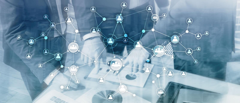 U-structuur van de het concepten mengde de collectieve organisatie van het personeelsbeheer media het dubbele blootstellings virt stock illustratie