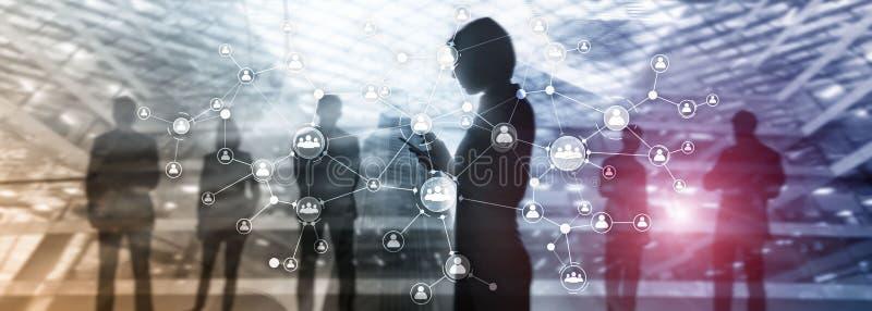 U-structuur van de het concepten mengde de collectieve organisatie van het personeelsbeheer media het dubbele blootstellings virt vector illustratie