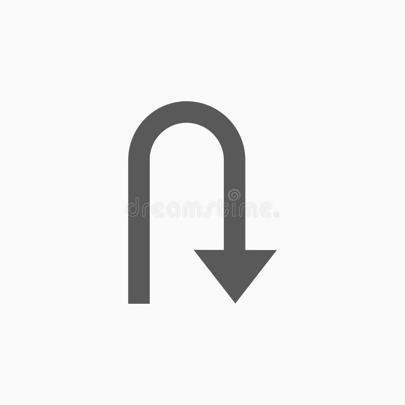 U-Turn icon, guidepost, signpost, arrow. U-Turn icon, back a car vector, reverse a car illustration, guidepost icon vector illustration