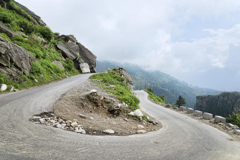 U turn at mountain highway road stock photography
