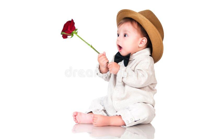 U wenste hun favoriet geluk? Emotionele mooie babyheer royalty-vrije stock fotografie