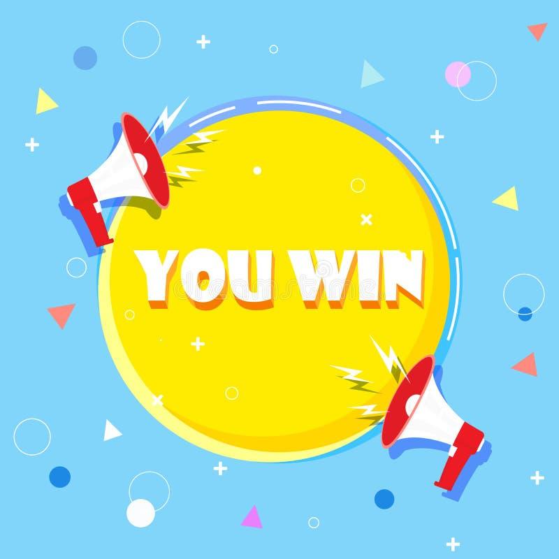 U wint de vectorillustratie van het woordconcept met megafoon en 3d stijl stock illustratie
